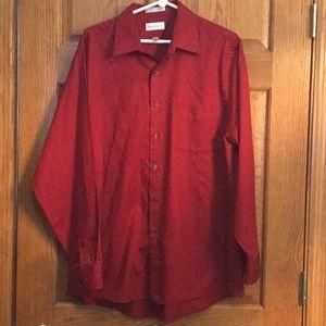 Dress shirt, deep red, L/16.5 Van Heusen